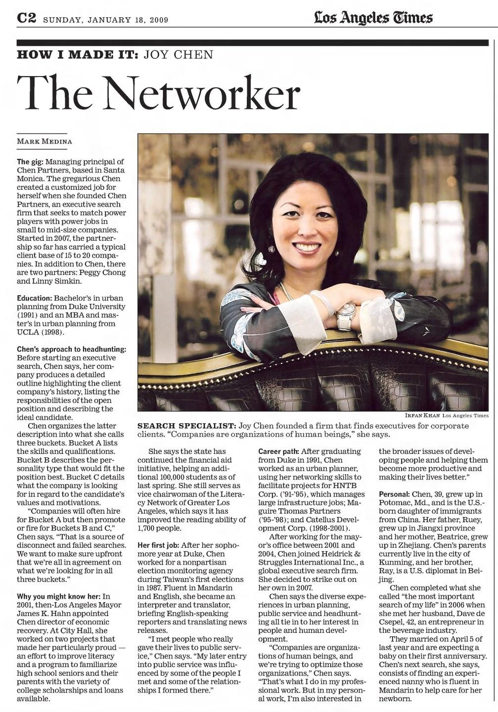 Joy Chen 陈愉 featured in Los Angeles Times LA Times